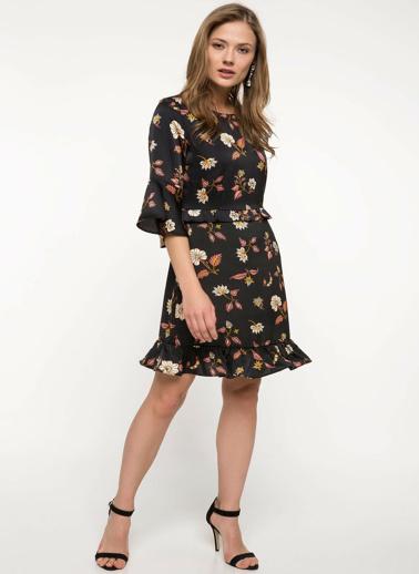 DeFacto Çiçek Desenli Fırfır Detaylı Elbise Siyah